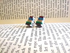Stack of Books Earrings Studs Made to Order  Book by Coryographies