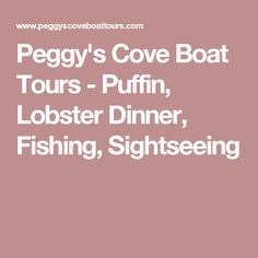 We are the exclusive boat tour operator in Peggy's Cove offering: Puffin, Bird and Seal, Lobster Dinner, Deep Sea Fishing and Sightseeing tours or charters. Lobster Dinner, Deep Sea Fishing, Boat Tours, Travelling