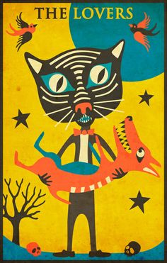 The Lovers. Tarot Card Cat: The Lovers Art Print by Jazzberry Blue