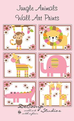 Girl Jungle Animals 8x10 Wall Art Prints Decor for baby nursery or children's safari bedroom decor. Pink, brown, green, and orange colors #decampstudios