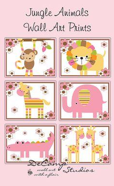 Girl Jungle Animals 8x10 Wall Art Prints Decor for baby nursery or children's safari bedroom decor. Pink, brown, green, and orange colors #decampstudios