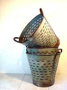 zinc olive baskets-Lovely for Laundry-Display-Flowers.