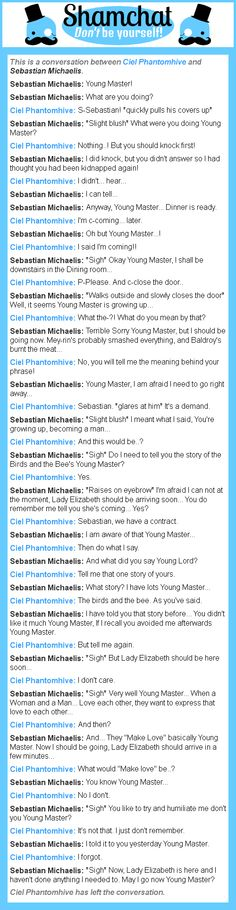 A conversation about the birds and the bees between Sebastian Michaelis and Ciel Phantomhive