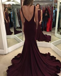 Stylish long prom dresses,A-line deep red backless prom dress,2016 perfect evening gowns · Formal Dress · Online Store Powered by Storenvy