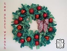 Festive Wreath From Old Tees | AllFreeChristmasCrafts.com