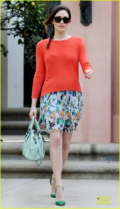 Emmy Rossum in Vince Camuto sweater and Kate Spade Bag