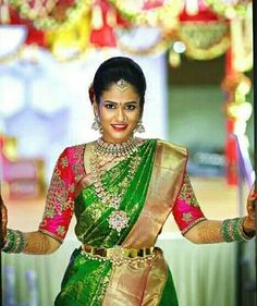 Bridal Silk Saree, Saree Wedding, Silk Sarees, Wedding Bride, Wedding Ideas, Bridal Jewelry, Gold Jewellery, Bride Portrait, Bridal Photography