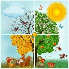 Make Four Season Trees Kindergarten Calendar, Kindergarten Activities, Activities For Kids, Fall Crafts, Diy And Crafts, Crafts For Kids, Four Seasons Art, Maternelle Grande Section, Preschool Education