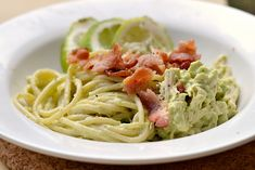 Creamy Avocado Chicken Pasta (with BACON)! ...I am so stuffed off this meal right now... :)