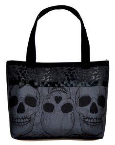 Skulls and Black Leopard Print Tote Bag - Sabbie's Purses and More www.sabbiespursesandmore.com/content/skulls-and-black-leopard-print-tote-bag