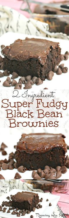 2 Ingredient Black Bean Brownies recipe with homemade healthy fudge icing.  Amazing and fudgy! No oil, no eggs or no butter and the icing uses almond milk.  The easy and best way to mix brownies.  You'll never believe how simple it is! / Running in a Skirt - easy swap to make this dairy-free!