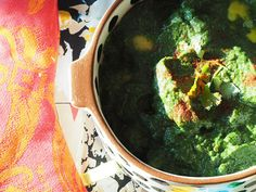 Aloo (meaning 'potatoes') palak (meaning 'spinach') is an interesting dish. I like both, but I had never though to mix the two. And they pair surprisingly well, helped along by a variety of local Indian spices.