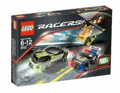 LEGO® Racers Speed Chasing by LEGO. $64.99. 142 pieces. Can the revved-up police racer catch up to the green speedster with glow-in-the-dark headlights?  And is this just a chase¿or the ultimate race?. There¿s a car chase happening in the city streets!  Follow the action from the news chopper with its glow-in-the-dark searchlight.. Helicopter has glow-in-the-dark searchlight, police racer has glow-in-the-dark hood, and speedster has glow-in-the-dark headlights!. Includes 2 ...