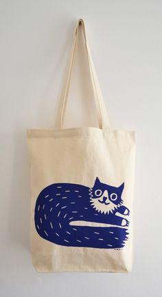 Cat Tote Bag Hand Screen Printed Percy Cat Design in by miristudio, $26