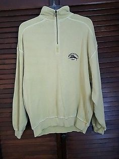 Mens Tommy Bahama Pale Yellow Zipper Long Sleeve Sweatshirt 100 % Cotton Medium