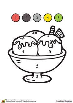 Coloriage et illustration d'un Coloriage Magique Maternelle, une coupe de glace. Miam, une triple boule de glace. Je ne connais pas ton parfum préféré, mais ça donne envie de la déguster. Avec 5petites couleurs, tu pourras venir à bout de ce coloriage magique vraiment simple. En plus, les gros traits t'empêcheront de déborder. Amuse-toi bien. Numbers Preschool, Learning Numbers, Preschool Worksheets, Kindergarten Centers, Kindergarten Reading, Kids Learning Activities, Toddler Activities, Colouring Pages, Coloring Books