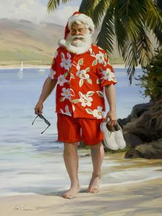 Santa on the beach by Tom Browning