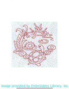 Stickmotiv Stickbild Aufnäher Stickerei Emblem Schildkröte  Schildkröte /  Stickerei Spring Turtle (Redwork) (F8702)