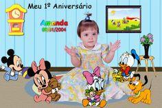 Fotomontagem com a foto da criança e a turminha do Baby Disney