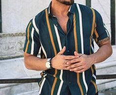 Green, Yellow, & White Striped Shirt Source by bmwmalynne Outfits With Striped Shirts, Polo Shirt Outfits, Polo Outfit, Polo Shirt Style, Half Sleeve Shirts, Half Shirts, Men Looks, Outfits Hombre, Stripped Shirt