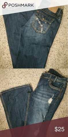 Amethyst jeans Amethyst jeans...size 11....very factory distressed.  98% cotton / 2% spandex....flare leg Amethyst Jeans Flare & Wide Leg