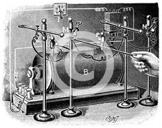 High voltage equipment used by Pierre and Marie Curie to investigate the electrical conductivity of air exposed to radium. From La Nature. (Paris, 1904)