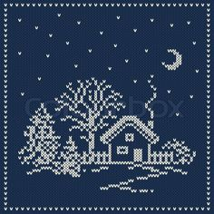 Stock vector of 'Winter Holiday Landscape. Christmas Sweater Design. Seamless Knitted Pattern'