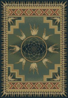 United Weavers Genesis Dreamcatcher Green Rug | Southwestern Rugs #RugsUSA