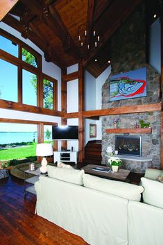 Custom timber frame home Great Room