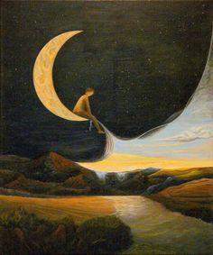 'Une enfance dans la lune' - Peinture de Benoît Moraillon, France