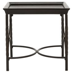 The perfect addition to your living room or den, this elegant pine wood and steel end table showcases a twisting base and tray-style top.