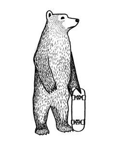 Skate Bear Art Print by Jonas Claesson   Society6