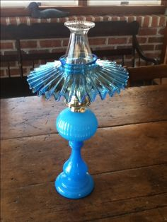 Early blown glass oil lamp with blue shade. Victorian Lighting, Antique Lighting, Antique Oil Lamps, Vintage Lamps, Lantern Chandelier, Fairy Lamp, Kerosene Lamp, Hurricane Lamps, Candle Lamp