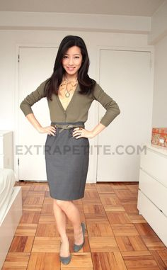 brilliant & professional - tuck in cardigan into a pencil skirt!