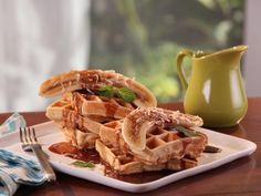 Get Coconut Waffles with Chocolate Maple Syrup and Banana Recipe from Cooking Channel