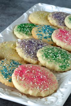My favorite cookie for frosting and decorating for any holiday or special event including Easter, birthdays, weddings, Christmas and Valentines Day. They truly are The Best Sugar Cookies! Amish Sugar Cookies, Sugar Cookies With Sprinkles, Valentine's Day Sugar Cookies, Sour Cream Sugar Cookies, Vegan Sugar Cookies, Sprinkles Recipe, Chocolate Sugar Cookies, Sprinkle Cookies, Christmas Sugar Cookies
