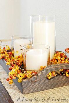 Turvallinen tapa yhdistää elävää tulta koristeisiin. #syksy #kynttilät #sisustus