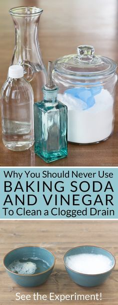 Want to naturally unclog a sink or clean a slow moving drain? Learn why you should never use baking soda and vinegar to clean your drains and see the experiment!   via @brendidblog