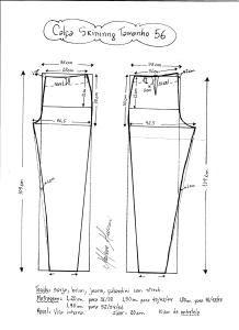Esquema de modelagem de calça skinny tamanho  56.