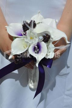 Elegant Artificial Purple Climbing Clover and Picasso Calla Lily Wedding Bridesmaid Bouquet #artificialflowers #wedding #weddingflowers #bouquet #flowers #bridal #silkflowers #purple #bridesmaid