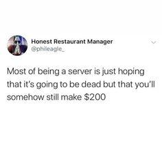 🤣💯 #serverlife . . . . . #serverlife #servermemes #serverproblems #iserv #iserverlife #lifeofaserver #lifeasaserver #servers #waiter #waitress #bartender #cook #manager #host #busser #restaurant #servervent #funny #haha #lol #lmao #love #hate #followme #memes #happy #monday Server Memes, Server Humor, Server Problems, Server Life, Happy Monday, Bartender, Evans, Haha, Bob