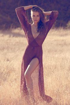 Tanya Mityushina in Anna Kosturova crochet maxi dress