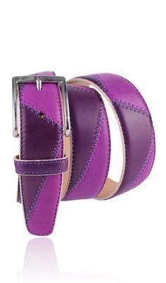 Cintura Cucita 3,5 CM BICOLORE Cardinale/Aubergine
