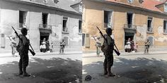 "Marina Amaral on Twitter: ""Colorized by me: Carentan, rue du Quai à Vin, 3 American soldiers (gliders) carrying their bayonets (between 10 and 15 June 1944) https://t.co/euZRU0l9lL"""