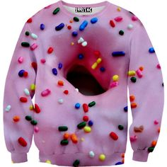 Donut Sprinkles Sweater 1991INC ($70) ❤ liked on Polyvore featuring tops, sweaters, unisex tops, unisex sweaters, purple sweaters and purple top