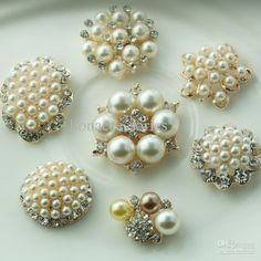 Wholesale Rhinestone Button - Buy !LO-087 7styles Metal Rhinestone Button with Pearl for Hair Flower Wedding Invitation Scrapbooking, $0.7 | DHgate