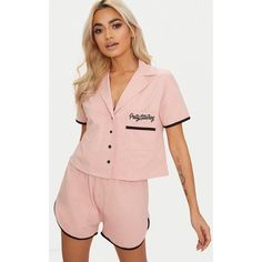 Pale Pink Pretty Little Thing Embroidered Short PJ Set ($25) ❤ liked on Polyvore featuring intimates, sleepwear, pajamas, pale pink, cotton pyjamas, cotton pajama set, short pjs, cotton sleepwear and cotton pjs