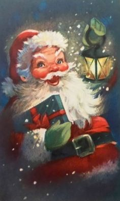 Vintage Christmas Card Smiling Santa Claus Lantern Present Snow Embossed
