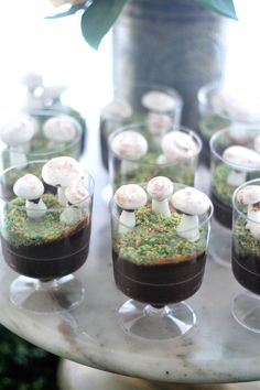 """Chocolate mousse with edible coconut """"moss"""" and meringue mushrooms from a Tea for Two Garden Party on Kara'a Party Ideas 