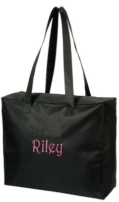 Black Tote Bag Personalized by shopperssky on Etsy, $22.49